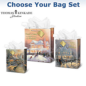 Thomas Kinkade Christmas Gift Bag Set