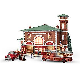 Hometown Heroes Firehouse Sculpture Set