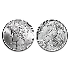 "1935 ""4 Ray"" Peace Silver Dollar Coin"
