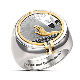 The Veterans Memorial Silver Coin Ring