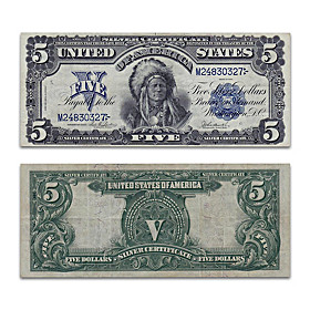 1899 $5 Silver Certificate: Indian Chief Note Currency