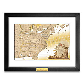 The First United States Map In Pure 24K Gold Wall Decor