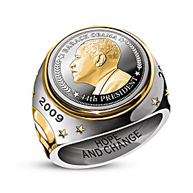 The President Obama Silver Coin Ring